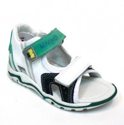 сандалии Minimen мальчик белые зеленые детские